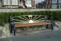 Metal bench at Felixstowe seafront